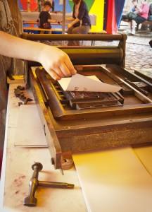 Workshop Buchdruck Blatt selbst bedruckt