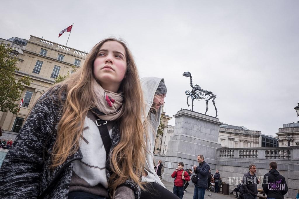 """Auch diese wechselnden Kunstwerke auf """"The fourth Plinthe"""", dem vierten Sockel des Trafalgar Square sind in meinen Augen sehr britisch. Im Moment trohnt dort ein Pferdeskelett, aber ich kann mich auch noch gut an den blauen Gockel erinnern."""