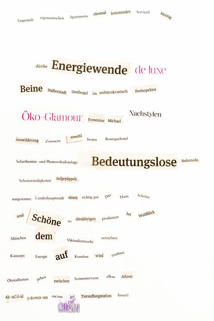 Jetzt gilt es nur noch dieses Dada-Gedicht auch möglichst ernst vorzutragen, oder vorzutanzen. Egal, ich denke Dada gefällt mir!