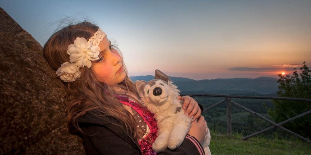 Auch eine Kindheitserinnerung aus der Toskana. Mit Wolpi, meinem Lieblingskuscheltier. Den gibt es natürlich noch, er ist ganz platt gedrückt, vom vielen Daraufeinschlafen.